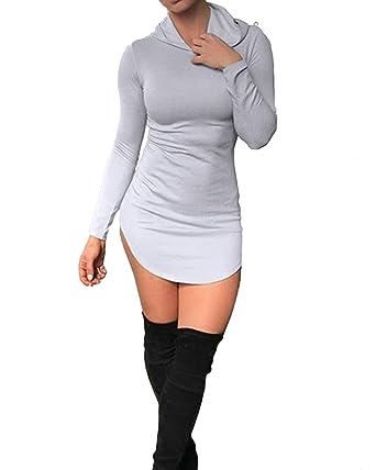 StyleDome Women s Sexy Hooded Dress Autumn Long Sleeve Tight Short Mini  Bodycon Dress Grey S 221e1f0148