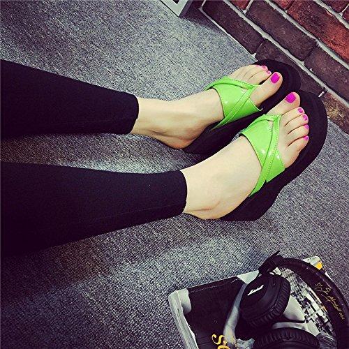Mujeres Señoras Sandalias 6.5cm zapatillas de verano femeninos de tacón alto zapatillas de tacón alto Moda zapatos de la playa ocasional Cómodo ( Color : 1001 , Tamaño : 37 ) 1003