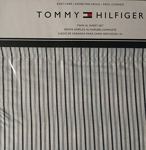 Price comparison product image Tommy Hilfiger 3 Piece Twin XL Size Sheet Set Ithaca on Blue White Oxford Stripes