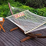 Lazy Daze Hammocks 12Ft Wood Arc Hammock Stand and Cotton Rope Hammock Set with Pillow and Spreader Bar, Weight Capacity 350Lbs