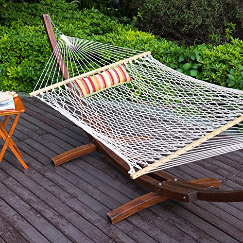 (Lazy Daze Hammocks 12Ft Wood Arc Hammock Stand and Cotton Rope Hammock Set with Pillow and Spreader Bar, Weight Capacity 350Lbs)