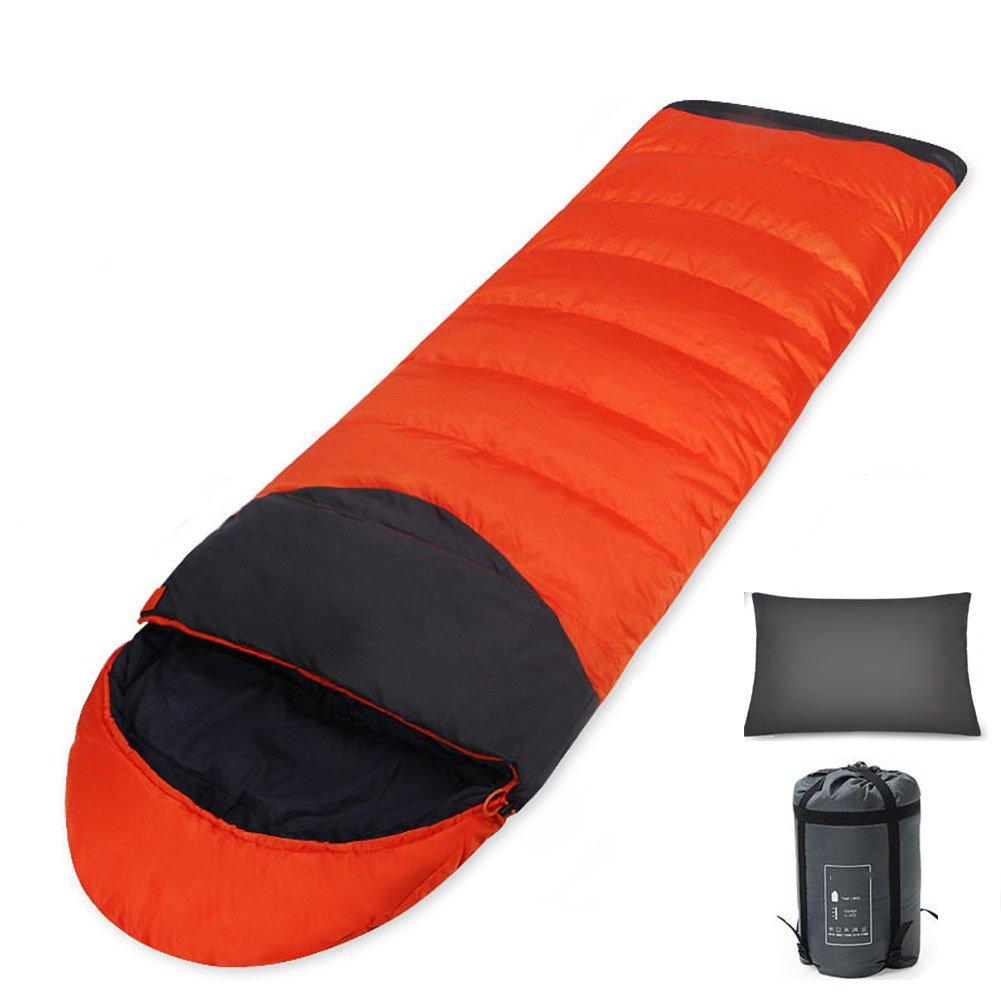 Orange Droit Zip HM&DX été Sac De Couchage Camping Adultes Enveloppe 3 Saisons portable Ultra Léger Sac De Dormir avec Sac De Compression Trekking Tente Hiker Randonnée