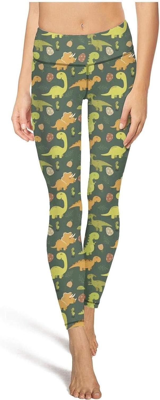 medssii Lady Yoga Pants Cute Cartoon Dinosaurs Baby Super Soft Yoga Leggings with Pockets