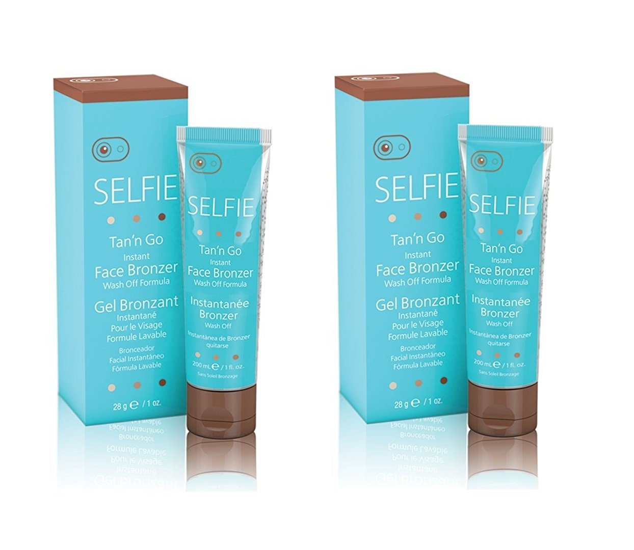 Selfie Tan'n Go Instant Face Bronzer, Wash Off Formula, Medium Tan, 1 Oz (Pack of 2) + FREE Old Spice Deadlock Spiking Glue, Travel Size, .84 Oz