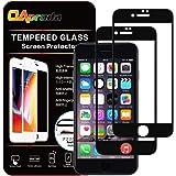 【専用ガイド枠付き】【2枚セット】OAproda iPhone8 Plus / iPhone7 Plus ガラスフィルム 全面保護フィルム 強化ガラス 液晶フルカバー【貼り付け簡単/浮き防止/指紋防止/業界最高硬度9H 】iPhone7プラス/ iPhone8プラス 5.5インチ用ブラック(黒)