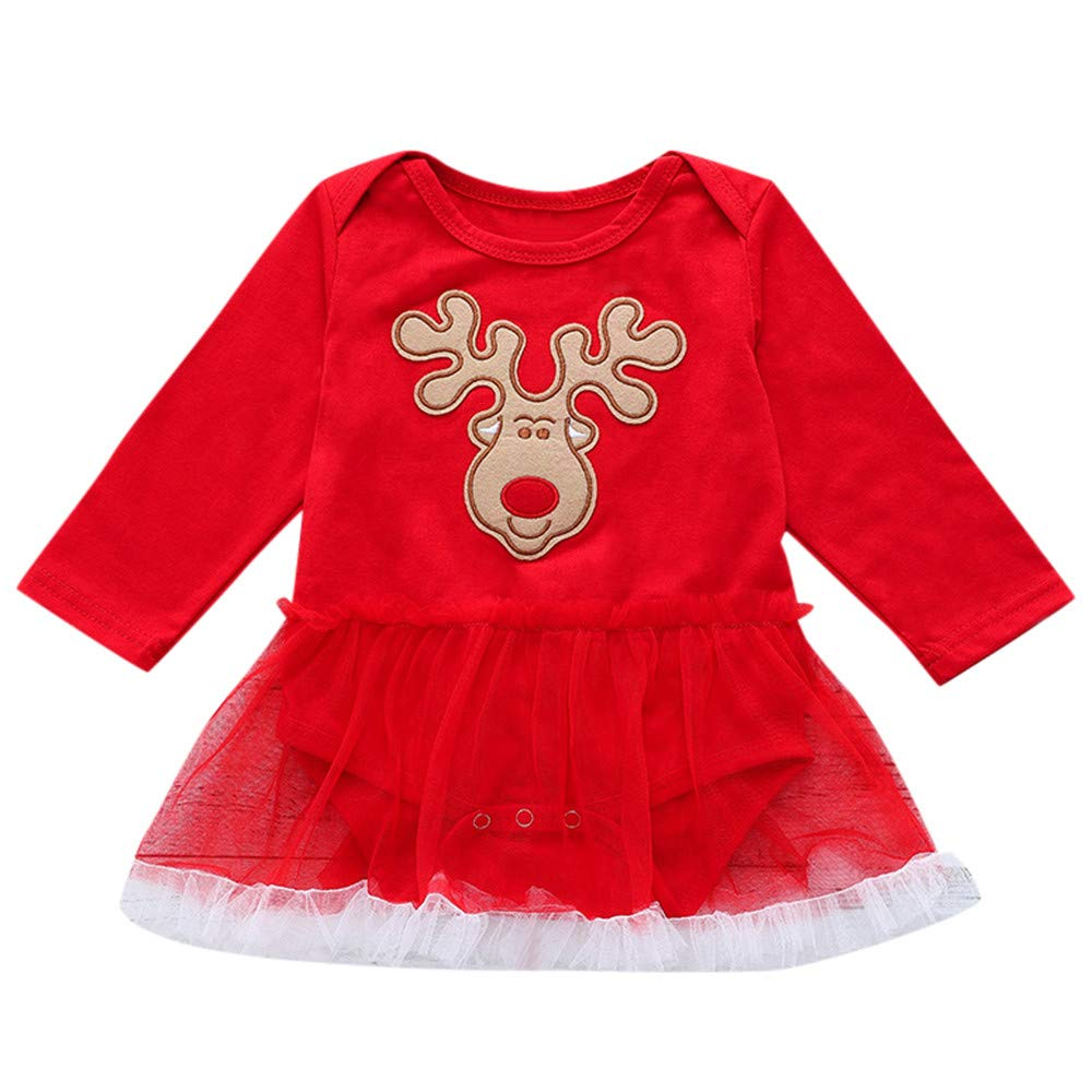 Halloween Outfits for Girls Infant Baby Long Sleeve Deer Print Romper Dress Christmas Clothes Red 100