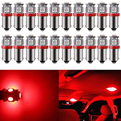 BlyilyB Pack-20 Red BA9S T11 T4W 64111 Miniature Bayonet Single Contact Base 5050SMD LED Bulbs For Side Marker Lights RV and Boat Navigation Bulb Dome Lights Map Lights License Plate Light: Automotive