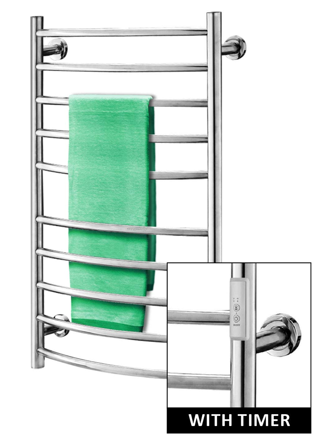 Towel Warmer   Built-in Timer with Led Indicators   3 Timer Modes: ON/Off, 2 H, 4 H   Both Hard-Wired & Plug-in Options Included  Wall Mounted   10 Curved Bars   High Polish Chrome Stainless Steel