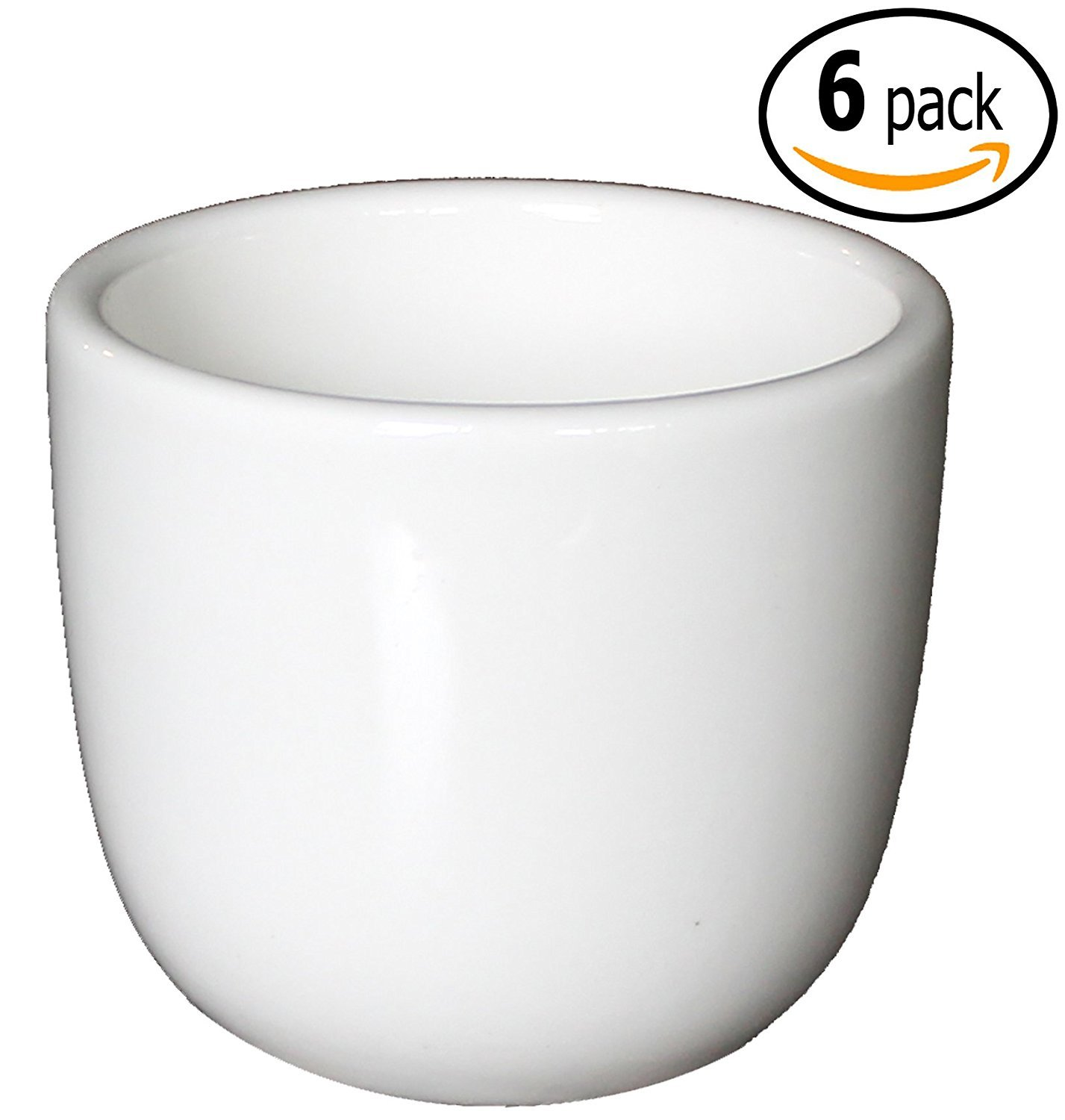 Cameo Ceramic Stackable Teacups with Pan Scraper, White Ivory (6 Pack, 4.5 Ounce)