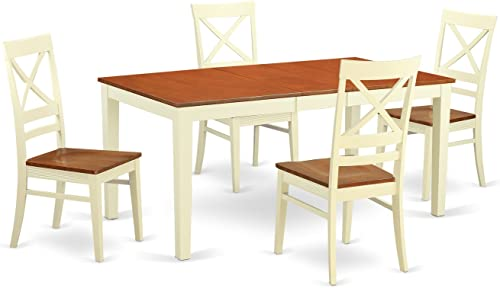 NIQU5-WHI-W 5 Pc Dinette set for 4-Kitchen Table and 4 Dining Chairs