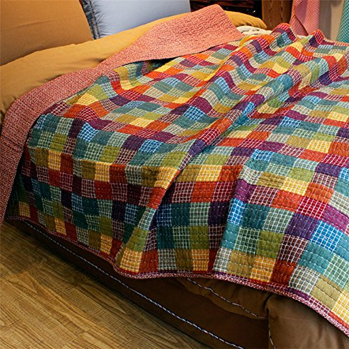 MeMoreCool Multicolor Checked Sewing Comforter Pure Cotton Summer Quilt Rural Style Handmade Bedding Set Home Textiles
