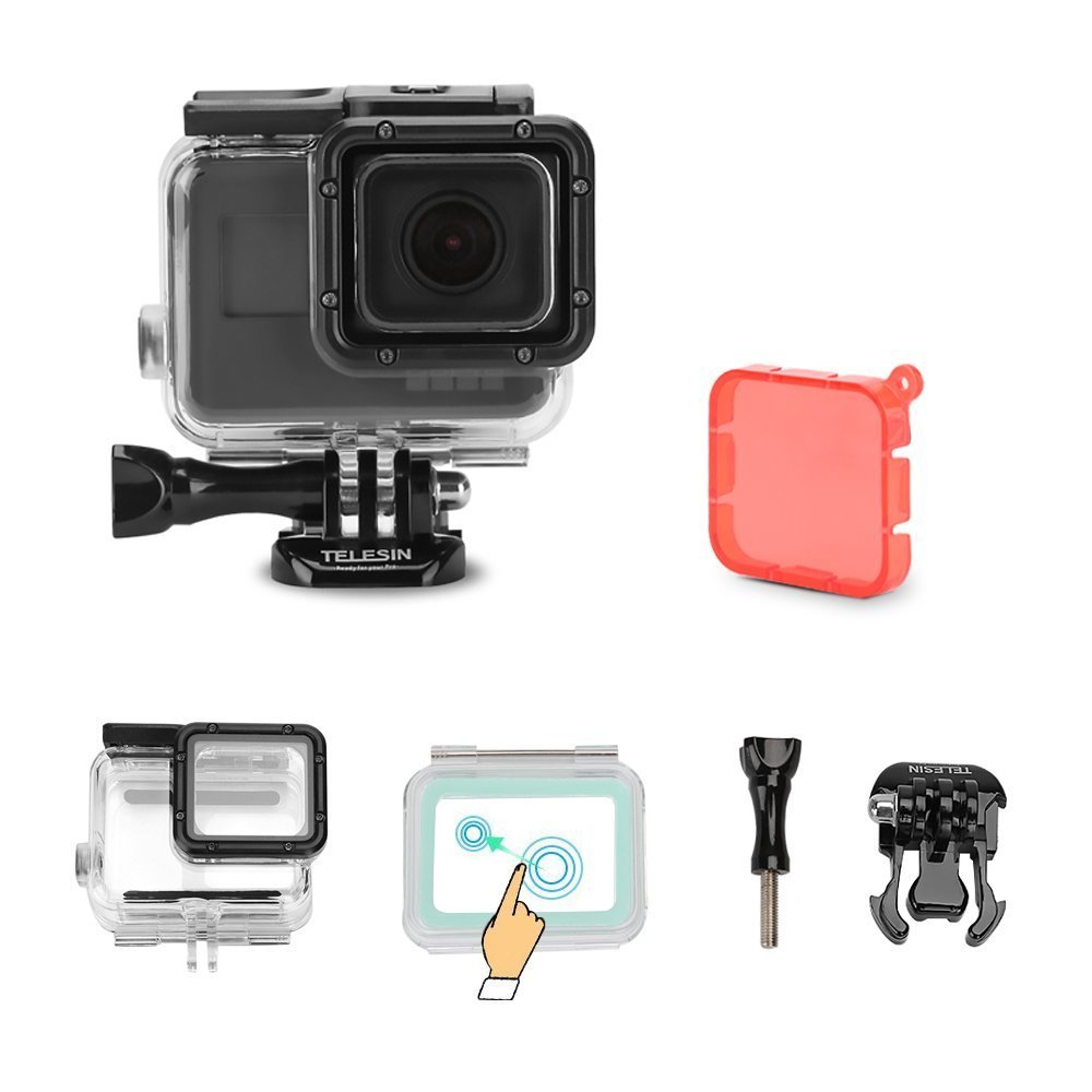 TELESIN Touchable Screen Waterproof Housing Case Diving Camera Lens Cover Protector Shell for GoPro Hero 6 and Hero 5 Underwater 45M Photography Accessories