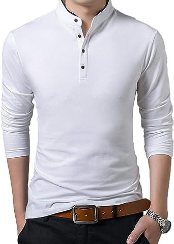 Camisas Polo De Los Hombres Elegantes Hombres Polo Camisa Esencial De Los De La Camisa De Manga Larga Slim Fit Camisa De La Casa De Los Hombres De Ocio Primavera Otoño: Amazon.es: