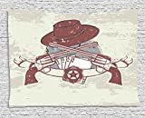 Western Tapestry, Insignia and Banner with Two Guns Hat Pistols Poker Ace Cowboy Texas, Wall Hanging for Bedroom Living Room Dorm, 80WX60L Inches, Chesnut Brown Slate Blue