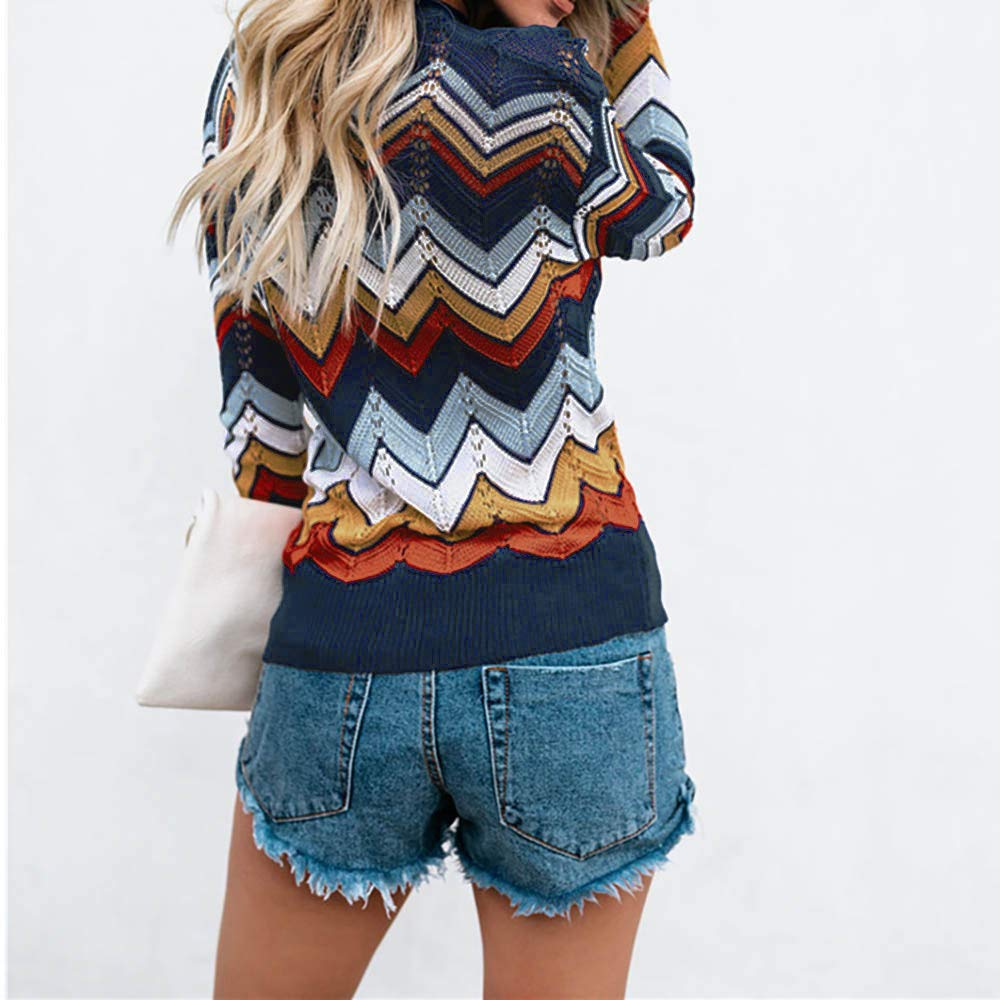Fantasy Fashion Womens Stripe Printing Long Sleeve Cotton Blend Hollow Jumper Pullover Tops Sweater Knitwear