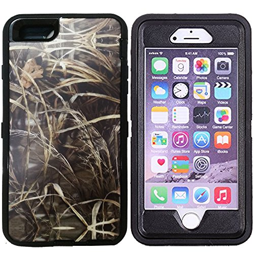 Kecko(TM) For iphone 6 Plus Case, Heavy Duty Defender Series Tough Realtree Camo Mossy Forest Shock-absorbing Weather Water Resistant Hybrid Military Grade Armor Rugged Bumper Case for iphone 6 Plus 5.5 Inch With Built-in Screen Protector Only--Camouflage Branch/Tree on the Core (Grass Black)