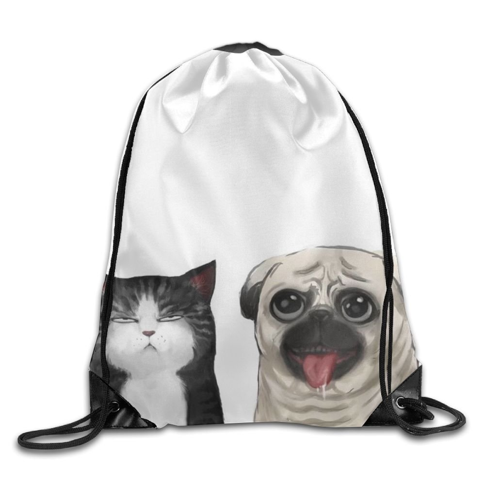 Cat Dog Drawstring Backpack Rucksack Shoulder Bags Training Gym Sack For Man And Women