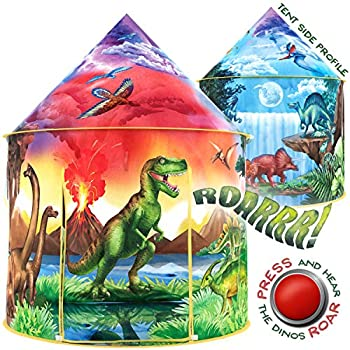 W&O Dinosaur Discovery Youngsters Tent with Roar Button, an Extraordinary Dinosaur Tent, Pop Up Tent for Youngsters, Dinosaur Toys for Youngsters Women & Boys, Youngsters Play Tent, Outside and Indoor Tents for Youngsters