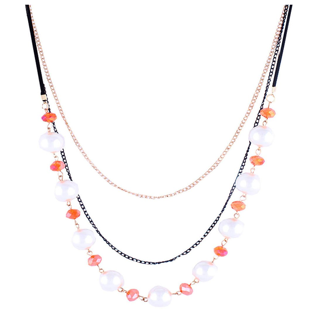 5cdf3443ec427 Buy Bling studio black and gold chain with round pearls and orange ...