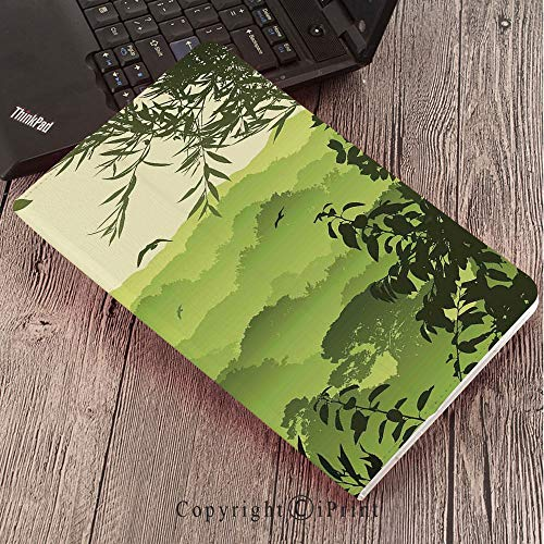 Samsung Tab S3 9.7 SM-T820 SM-T825 Tablet Case Protective Cover Crystal Case,Forest,Forest Scenery with Tea Trees and Gulls in The Jungle Birds Branches Eco Graphic Work,Green