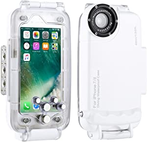 Haweel iPhone 7/8 Underwater Housing Professional [40m/ 130ft] Diving Case for Surfing Swimming Snorkeling Photo Video with Lanyard (iPhone 7/8, White)