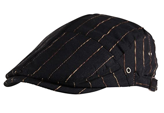 01041876096b Itzu Mens Flat Cap Hat Stitch Stripe Newsboy Baker Boy Fully Lined in Black:  Amazon.co.uk: Clothing