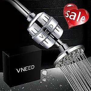VNEED Luxury Filtered Shower Head Set (Metal) Cartridge Vitamin C 10-Stage Shower Water Filter Universal Shower System Helps Dry Skin Hair Loss Removes Chlorine Sediments