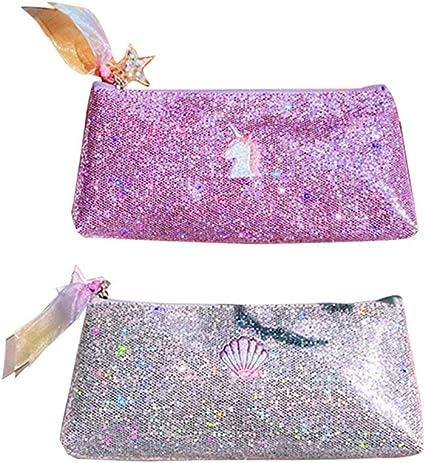 Estuche para lápices con lentejuelas brillantes, diseño de unicornio, color plateado y morado, para niñas, organizador de papelería, material escolar, paquete de 2: Amazon.es: Oficina y papelería