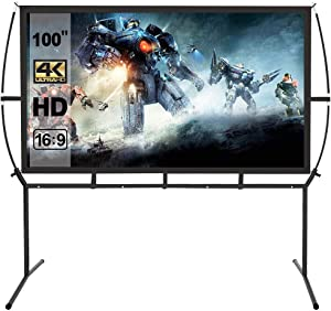 Projector Screen with Stand 100 inch,16:9 Outdoor Indoor Movie Screen, Portable Projector Screen for Home Theater Wrinkle-Free with Carry Bag