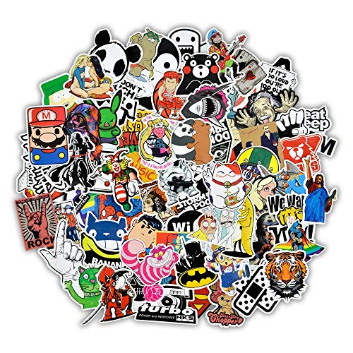 Dr.Qiiwi Cool Sticker 100 pcs Random Vinyl Car Stickers for Adult, Men, Women Jdm Stickers for Motorcycle Helmet Waterproof Bumper Stickers Skateboard Luggage Laptop Decal Graffiti Patches