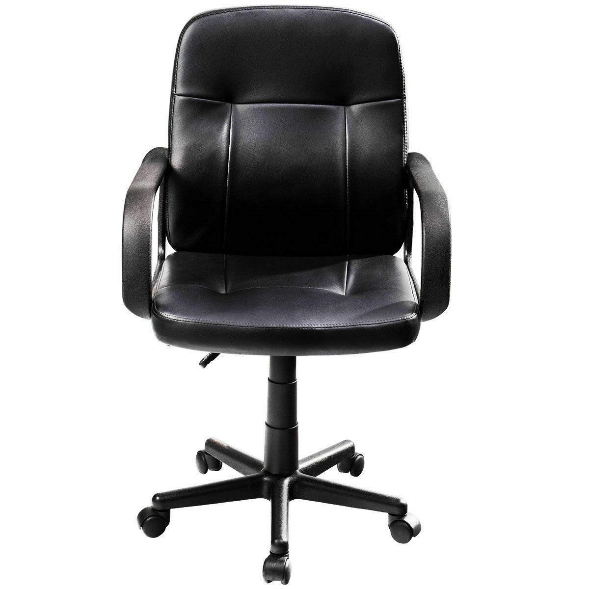 Seleq Compact Black PU Leather Desk Chair for Home Office by Seleq (Image #5)