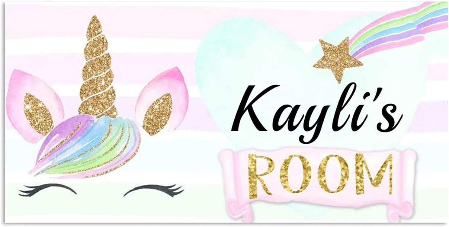 Volluroy Unicorn Bedroom Decor for Girls Personalized Custom Name Unicorn Signs for Girls Room Wall Decor