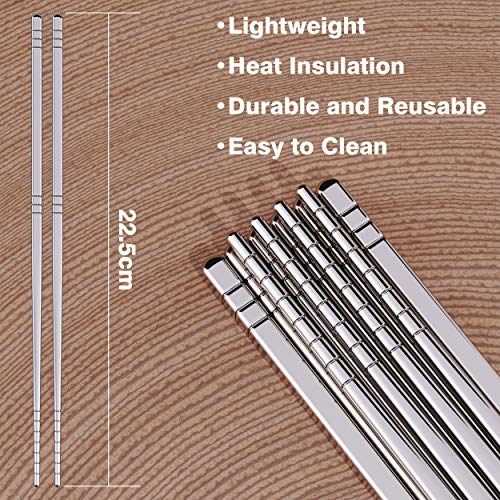 Omia 5 Pairs Premium Reusable Metal Stainless Steel Chopsticks Dishwasher Safe Lightweight Easy to Use Metal Chop Stick Utensils