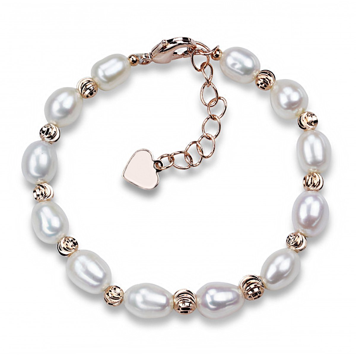 Merdia Sterling Silver Pearl Bracelet Freshwater Cultured Rice Shaped Pearl(White)