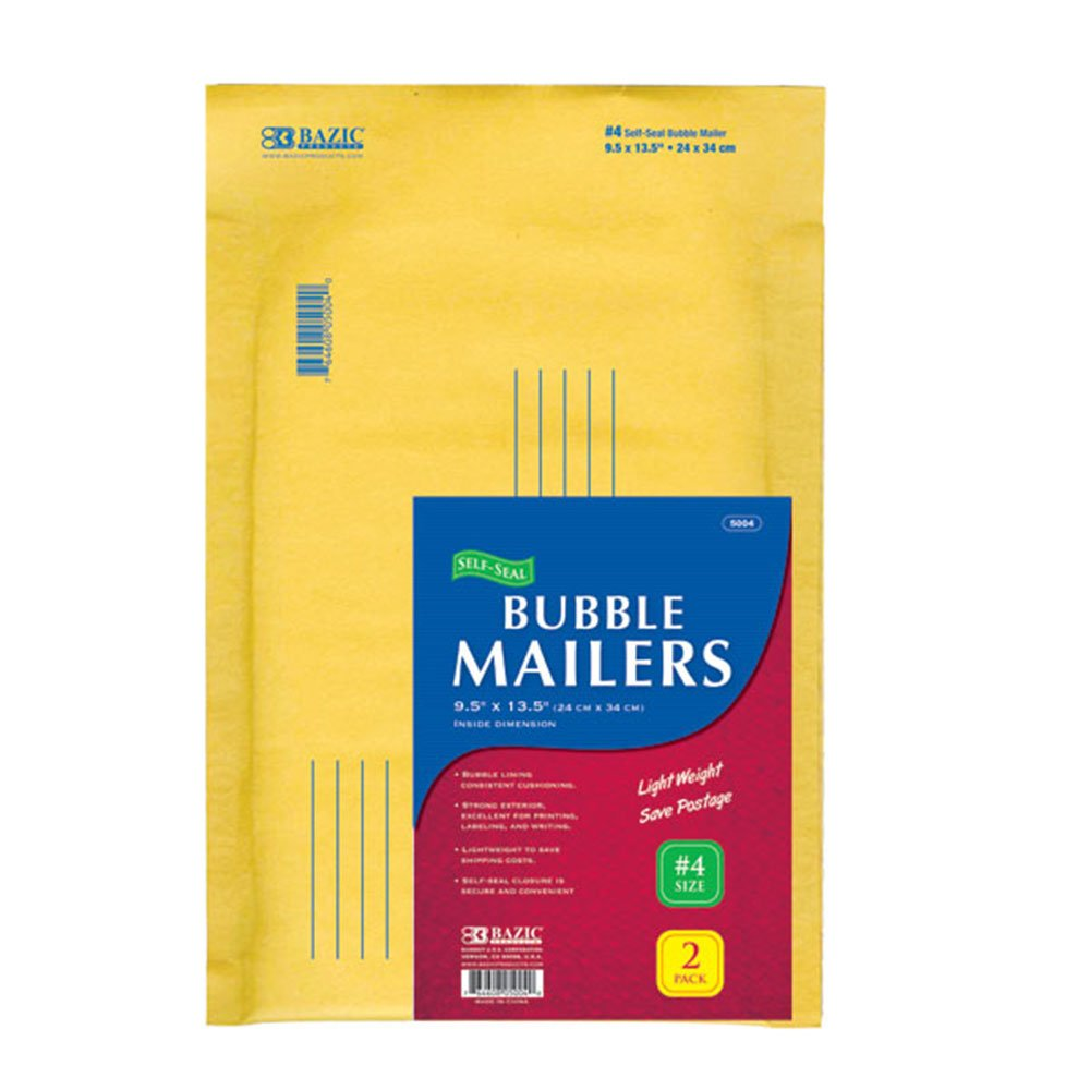 BAZIC 9.5'' X 13.5'' (#4) Self-Seal Bubble Mailers (2/Pack)