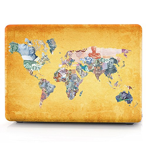 HRH World Banknotes Map Pattern Laptop Body Shell Protective Rubberized Hard Case for Apple MacBook Air 13.3