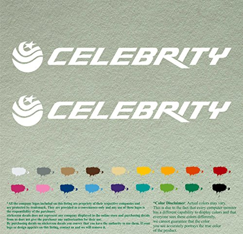 Pair of Celebrity Boats Fishing Decals Vinyl Stickers Boat Outboard Motor Lot of 2 (12