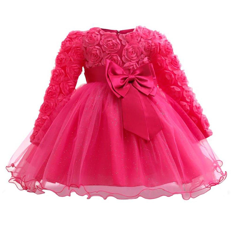 Myosotis510 Girls' Lace Princess Wedding Baptism Dress Long Sleeve Formal Party Wear For Toddler Baby Girl (7-12Months, Rose Fuchsia)