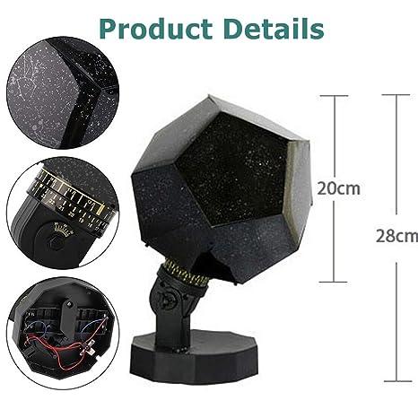 HWWGG Lámpara De Proyección De Cielo Estrellado Recargable por USB ...