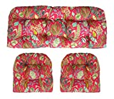 Indoor Outdoor Wicker LARGE (22''x44'' & 21''x21'') Tufted 3 Piece Set 1 Loveseat Settee & 2 U - Shape Chair Cushions ~ Hot Pink, Turquoise Blue, Lime Green, & Black ~ Sun Dream ~ Ocean Life ~ Coastal