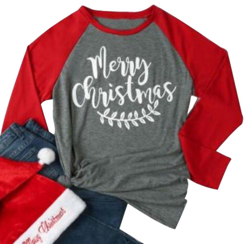 EGELEXY Women Merry Christmas Letter Leaf Print 3/4 Sleeve Holiday Baseball T-Shirt
