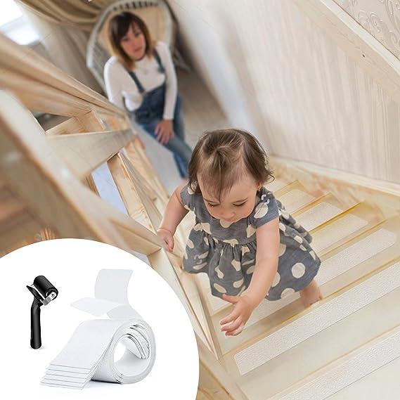 BMK - Juego de 15 tiras antideslizantes para escaleras, autoadhesivas, transparentes, antideslizantes, 10 x 61 cm: Amazon.es: Bricolaje y herramientas