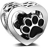 LaMenars Abalorios Charms Originales de Plata de Ley 925 Pata de Perro en Forma de Corazón Colgantes para Pandora…