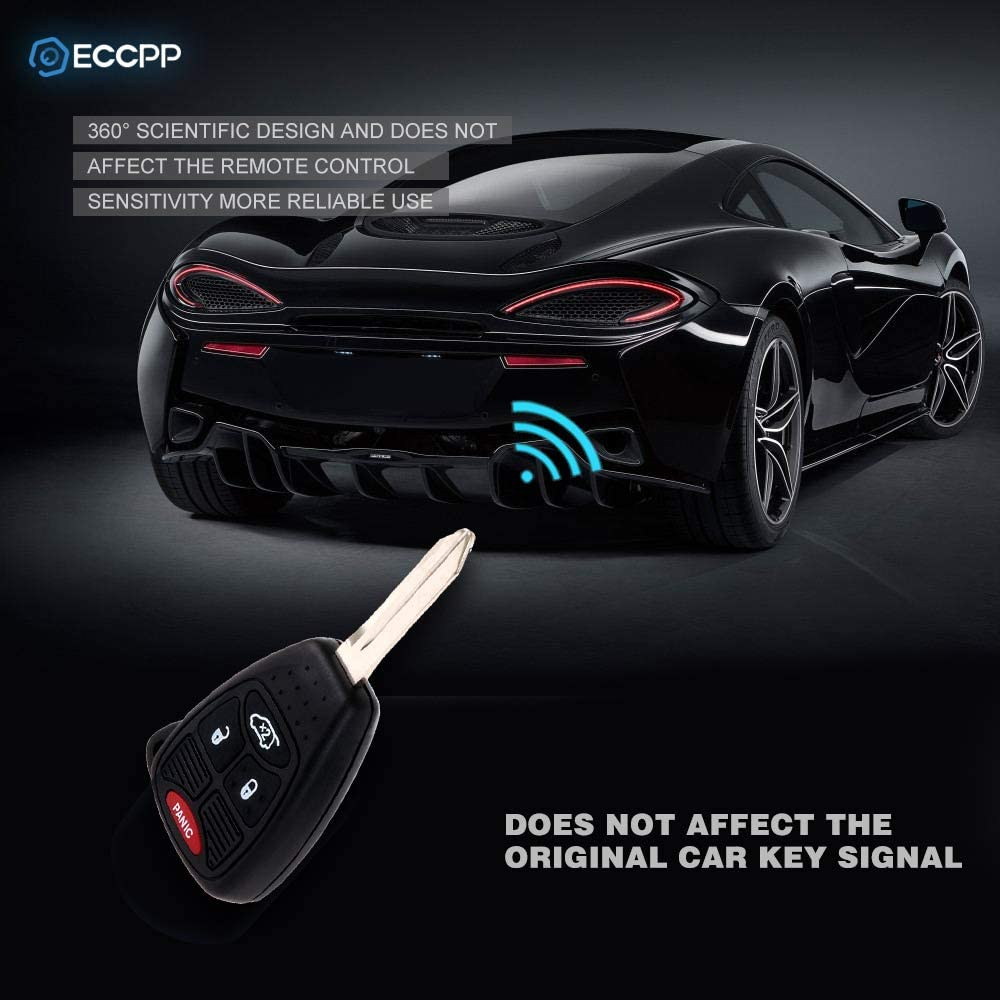 ECCPP Replacement for 1X 4 Button Replacement Uncut Keyless Entry Remote Key Fob for Jeep Dodge Series OHT692713AA