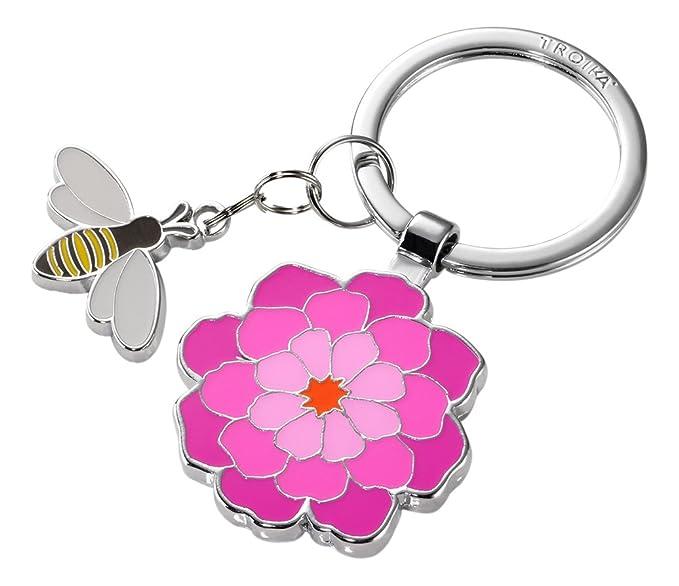 das Original von TROIKA TROIKA Schl/üsselanh/änger,PINK Heart pink Blume KR16-02//PU 3 Charms: Schmetterling Herz Metall//Emaille