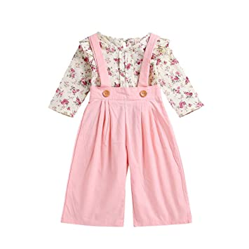 8ef3a913 Amazon.com : Toddler Baby Girls Clothes Long Sleeve Floral Tops+Solid  Overalls Pants Outfits (18-24 Months, Pink) : Beauty