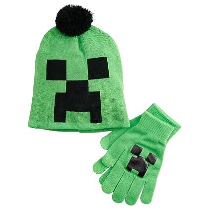 Amazon.com  Minecraft Creeper Face Knit Pom Beanie Hat and Gloves ... e4c8baaf4b5
