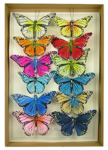 """Monarch Butterfly Clips Floral Wedding Decorations Spring Pastel Colors Artificial 4"""" Wingspan Set of 12 Assorted"""