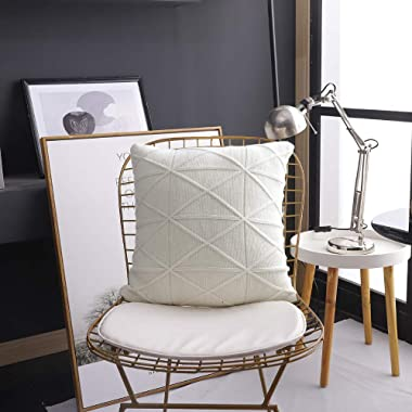 Luxury Knitted White Sweater Knitting Decorative Square Throw Pillow Cover 18x18 Inch 45cm Fotbor Home Decor Cushion Case for Home Couch Sofa Bed Living Room Office Car 100% Cotton
