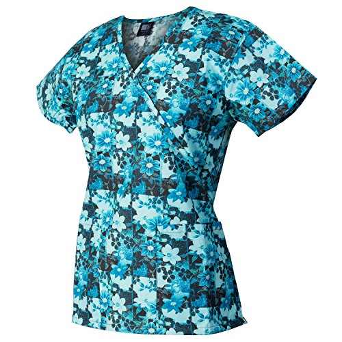 Medgear Womens Fashion Scrubs Top, Mock-Wrap With Back Ties 109P-FPDT